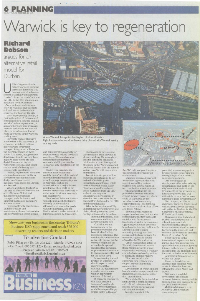 The Opinion-Editorial piece written by Richard Dobson for AeT in the Sunday Tribune (8 Dec 2013).